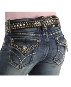 Rhinestone pocket jeans
