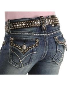 Rhinestone pocket jeans