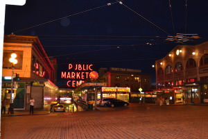 Night time on Pike Street in Seattle