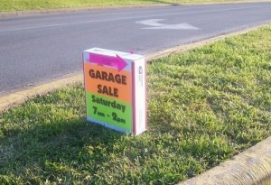 having a yard sale