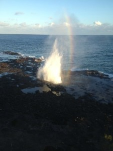 Beaches in Kauai with water spouts
