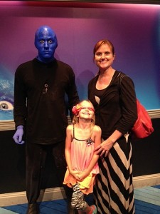 We tried, but were unable to get this Blue Man to say anything. Good thing he doesn't blog!
